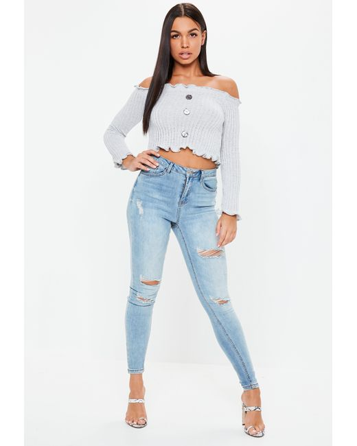 3df00658f4e Lyst - Missguided Gray Button Bardot Crop Top in Gray