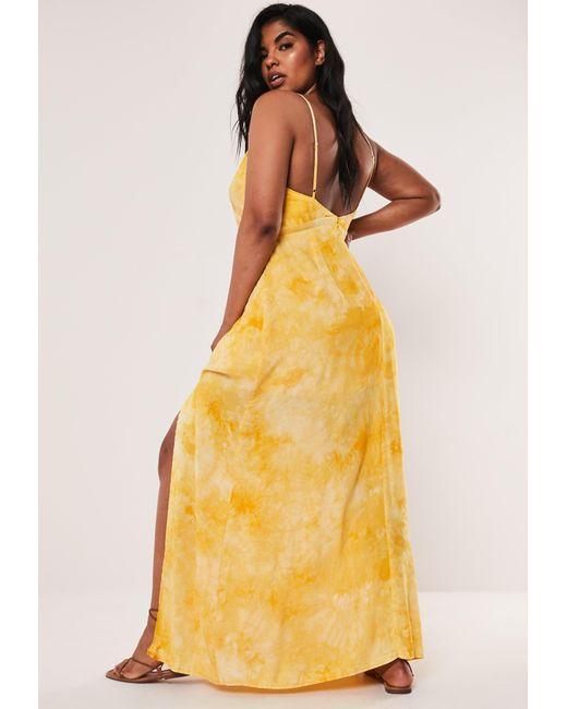 Women\'s Yellow Plus Size Tie Dye Cami Plunge Maxi Dress