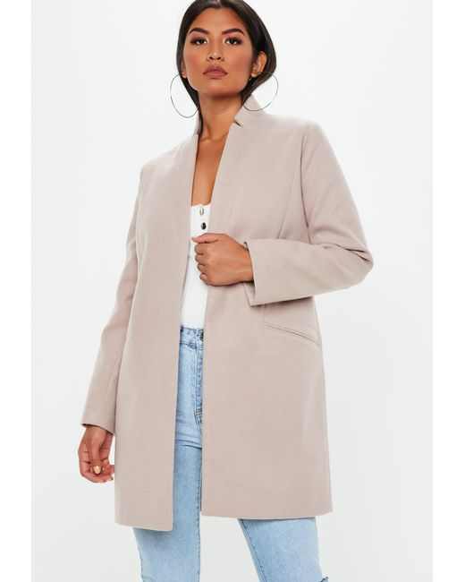 6e012cbde85eb Missguided - Natural Nude Inverted Collar Formal Coat - Lyst ...