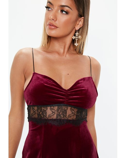 a576efc8ea6e ... Missguided - Red Petite Burgundy Lace Insert Velvet Mini Dress - Lyst  ...