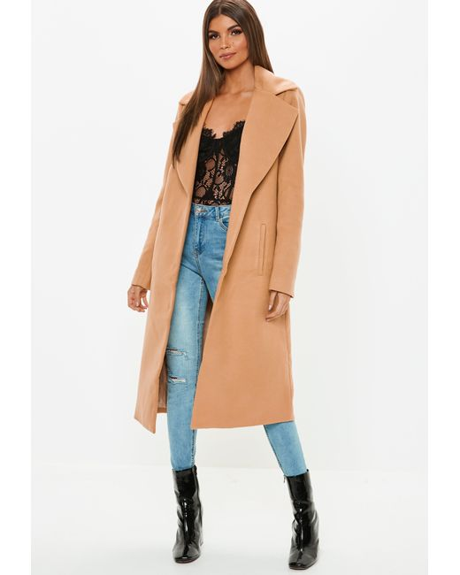 5906a039ca041 Missguided - Natural Camel Long Length Formal Coat - Lyst ...