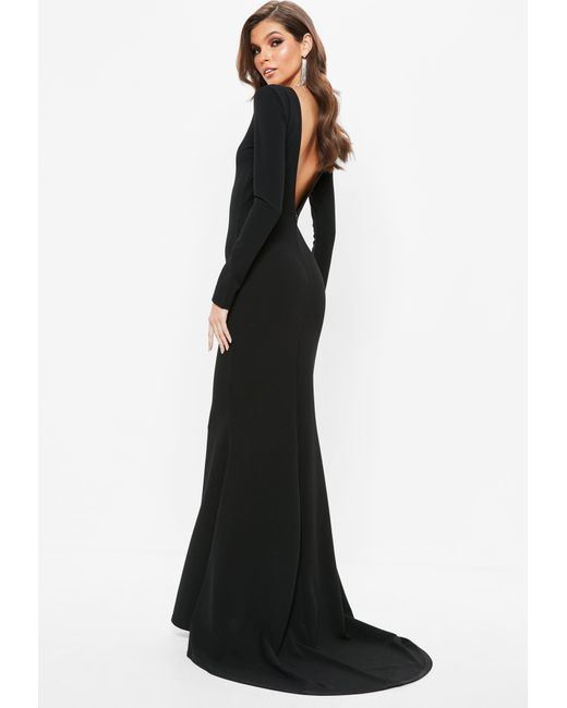 Missguided Black Open Back Maxi Dress