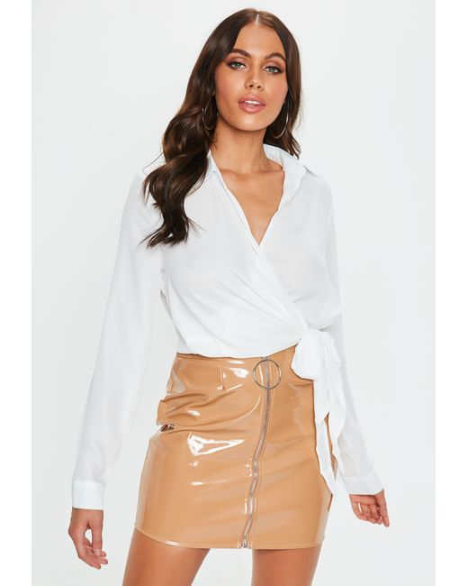 Missguided Wrap Over Tie Side Blouse Ivory In White Lyst