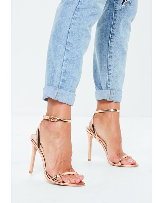 9fe84dc6e078 Missguided - Blue Rose Gold Pointed Toe Barely There Heels - Lyst ...