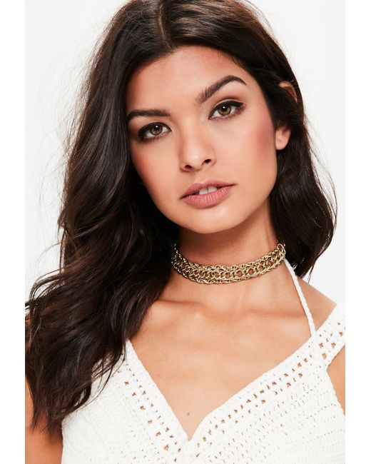 Missguided | Metallic Gold Chunky Chain Choker Necklace | Lyst