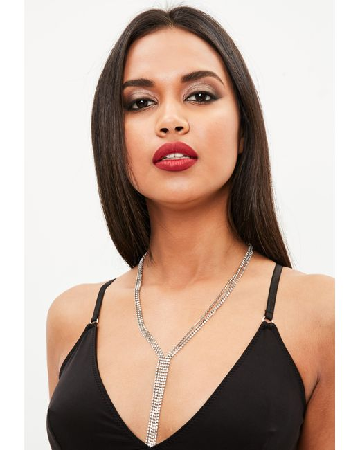 Missguided | Metallic Silver Drop Chain Diamante Necklace | Lyst