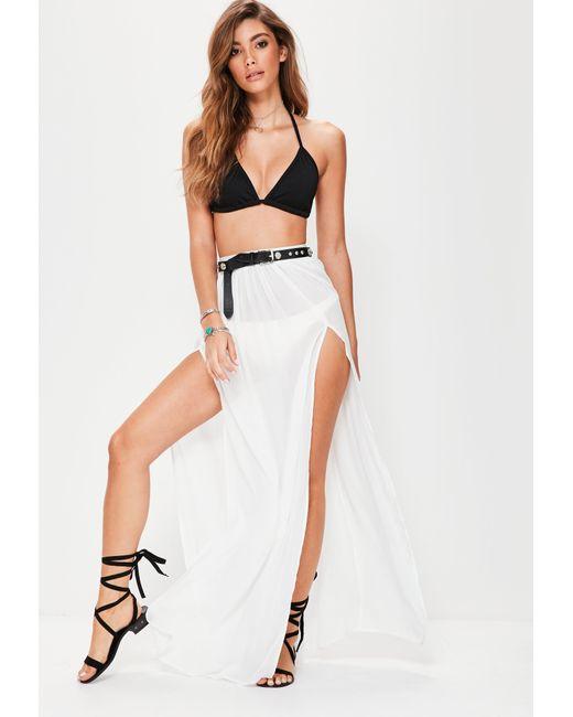 Missguided | White Chiffon Double Split Beach Maxi Skirt | Lyst