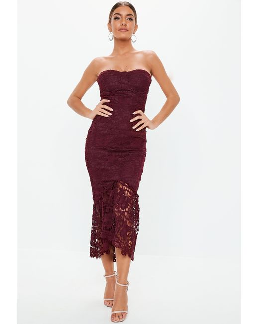 a3a460805a0 Missguided - Purple Burgundy Lace Bandeau Bust Cup Midi Dress - Lyst ...