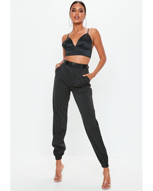 Missguided - Black Stripe Cargo Trousers - Lyst