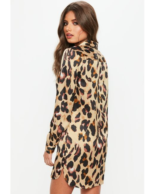 efdb0a1146c Lyst - Missguided Brown Leopard Print Satin Shirt Dress in Brown