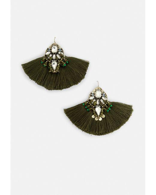 Missguided - Green Khaki Diamante Detail Tassel Earrings - Lyst