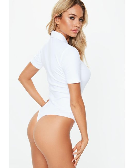d2c702d094 Lyst - Missguided White Zip Up Polo Bodysuit in White