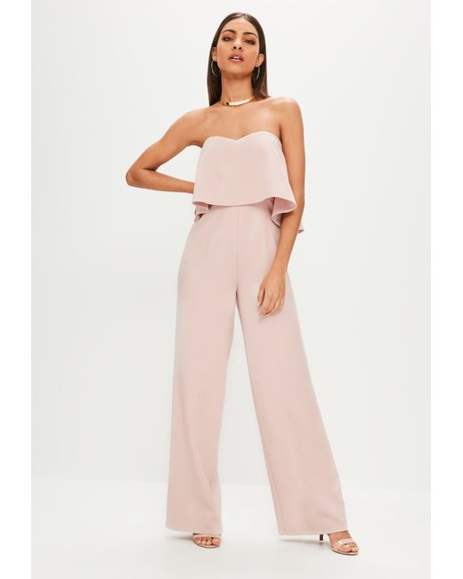 27cae69aab71 Missguided - Natural Nude Double Layer Bandeau Wide Leg Jumpsuit - Lyst ...