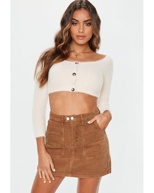 1b7e2928c Missguided - Brown Tan Cord Mini Skirt - Lyst ...