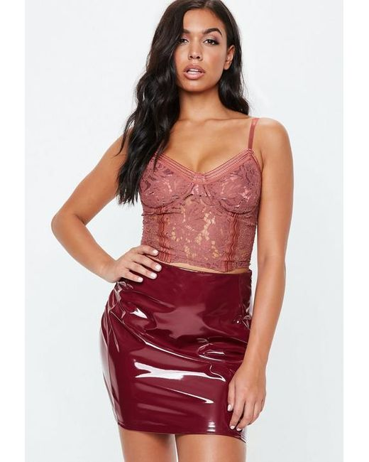 Missguided - Red Mocha Sports Tape Lace Bralet - Lyst ... 4e02aa498