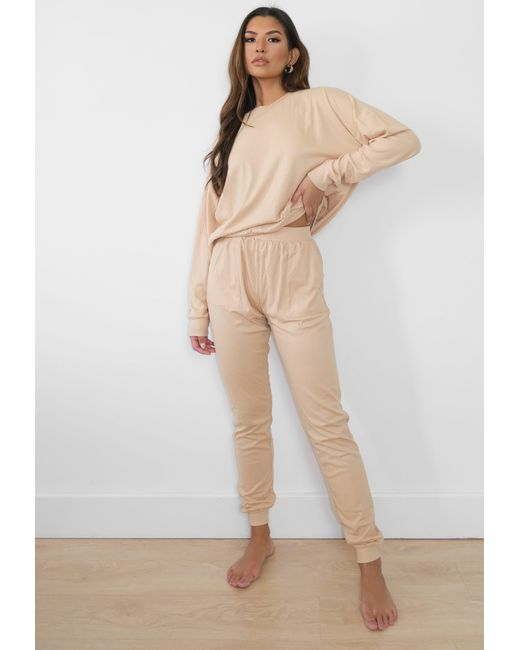 Missguided Natural Beige Rib Loungewear Set