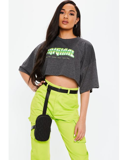 ad941802d88 ... Missguided - Gray Grey Original Graphic Oversized Crop Top - Lyst ...