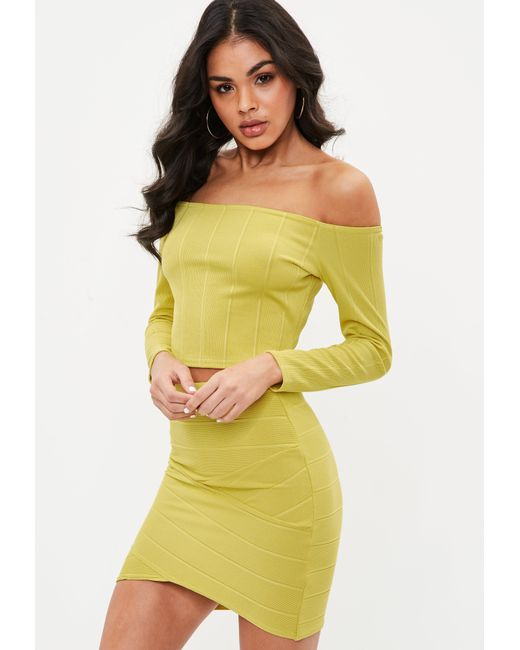 Missguided - Yellow Bandage Bardot Crop Top - Lyst