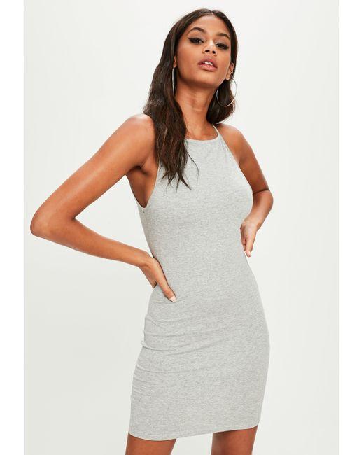 Missguided - Gray Grey 90s Neck Bodycon Dress - Lyst