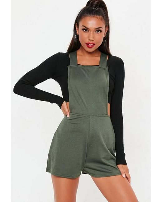 8438759f823 Missguided Khaki Dungaree Cross Back Romper in Green - Lyst