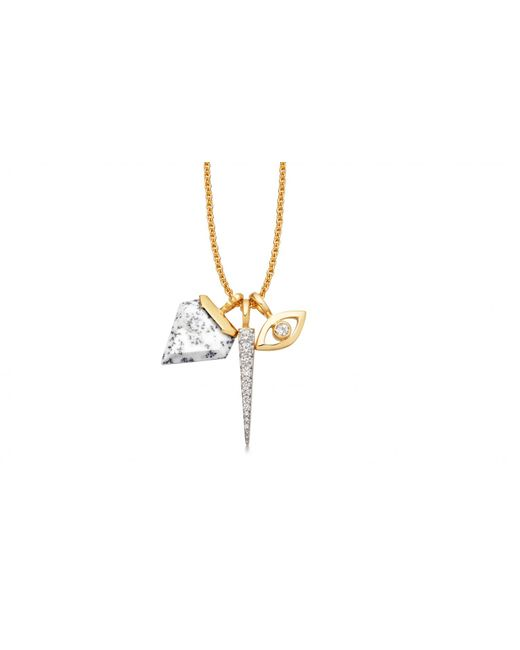 Missoma - Metallic Pave Spike With Dendritic Chalcedony Shield Necklace - Lyst