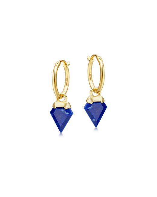 Missoma - Blue Lapis Mini Shield Hinged Hoops - Lyst