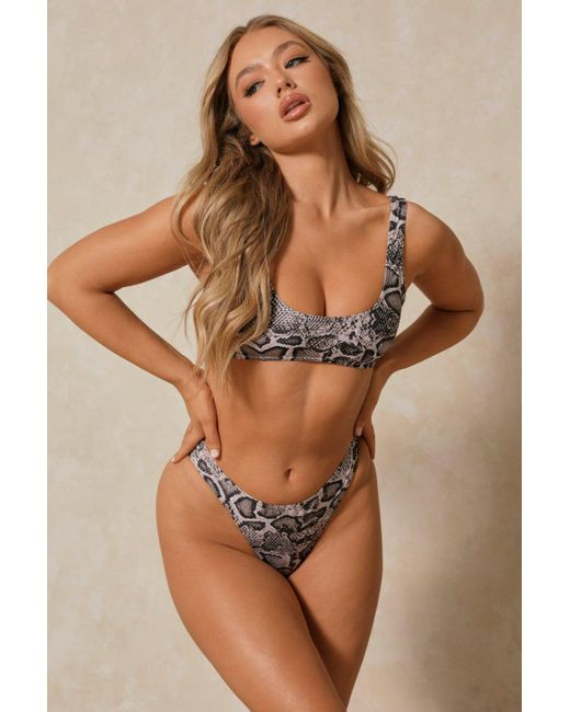 MissPap Brown Snake Mix And Match Scoop Neck Bikini Top