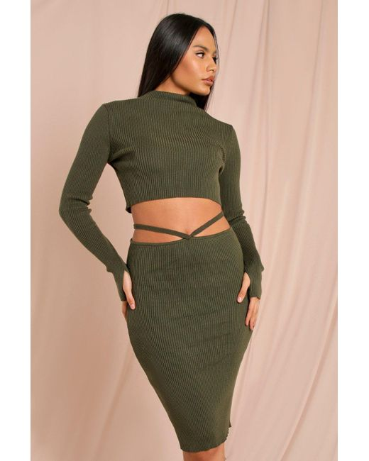 MissPap Green Grown On Roll/polo Neck Knitted Jumper