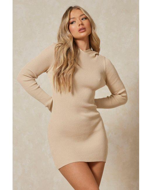 MissPap Natural Rib Knit Hooded Thumbhole Mini Dress