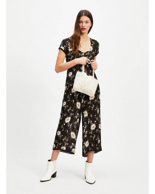 fc9f5152fe9 Miss Selfridge - Black Clare Floral Print Jumpsuit - Lyst ...
