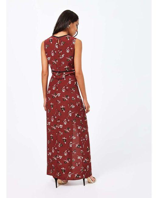 miss selfridge burgundy floral maxi skirt in multicolor