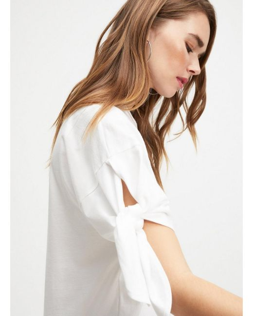b482142fe426f5 ... Miss Selfridge - White Longline Tie Sleeve T-shirt - Lyst ...
