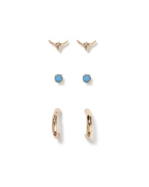 Miss Selfridge - Metallic Ram Stud Earrings - Lyst