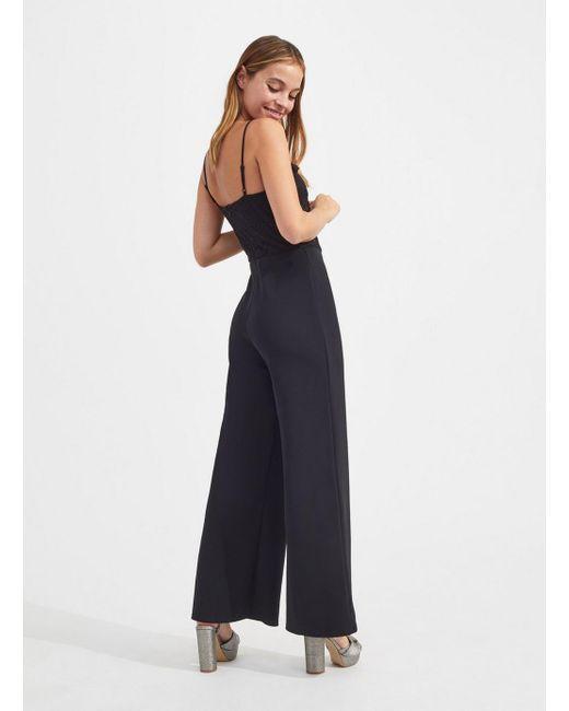 b87f12bba73 ... Miss Selfridge - Petite Black Lace Top Jumpsuit - Lyst ...