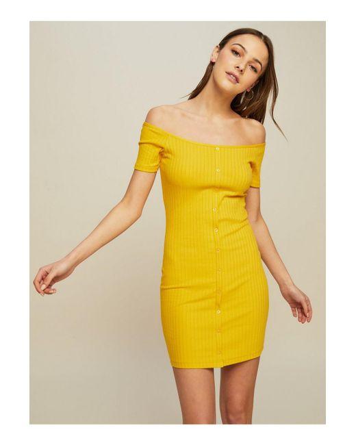 Miss Selfridge - Yellow Bardot Ribbed Button Bodycon Dress - Lyst