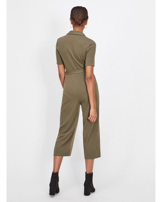 4f71329228 ... Miss Selfridge - Natural Khaki Ribbed Collar Horn Jumpsuit - Lyst ...