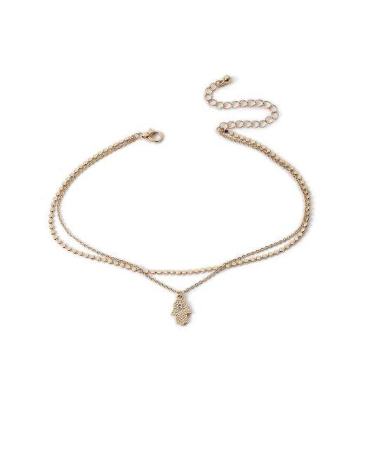 Miss Selfridge - Metallic Rhinestone Multi-row Necklace - Lyst