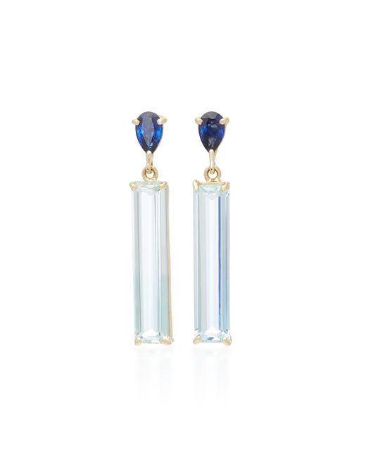 Yi Collection | Blue 18k Gold Sapphire And Aquamarine Earrings | Lyst