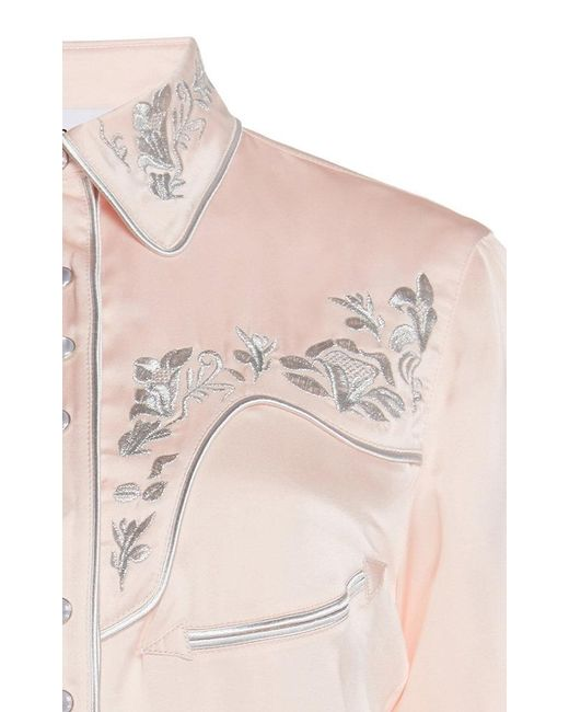 ec3ed5c0 ... Paco Rabanne - Pink Satin Embroidered Button Down Shirt - Lyst