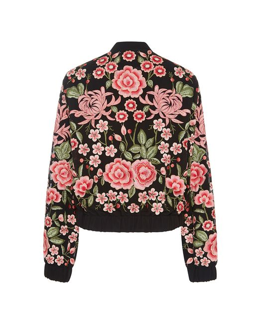 Needle thread floral embroidered rose bomber jacket in