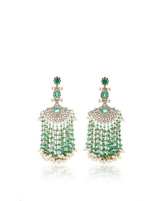 Sanjay Kasliwal - Green Long Emerald Fan Earrings - Lyst
