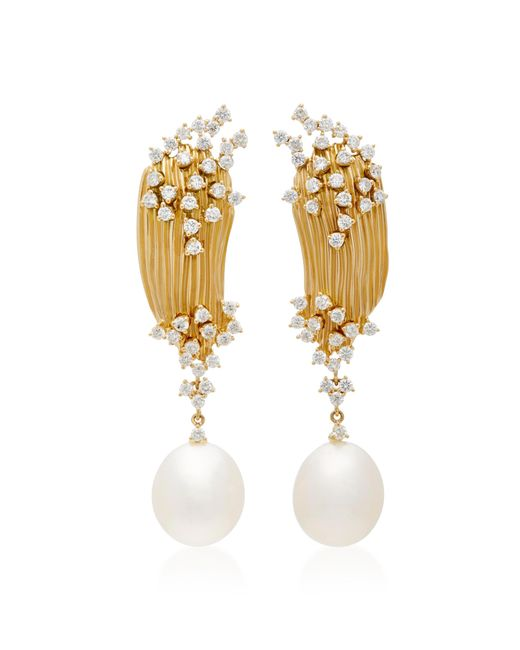 Hueb   Metallic Plisse 18k Gold, Diamond And Pearl Earrings   Lyst
