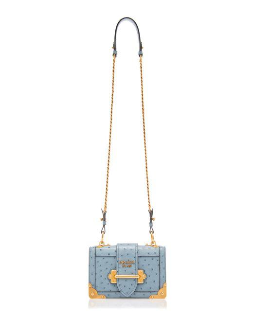 0ae06afaab0e ... Prada - Blue Ostrich Cahier Shoulder Bag - Lyst ...