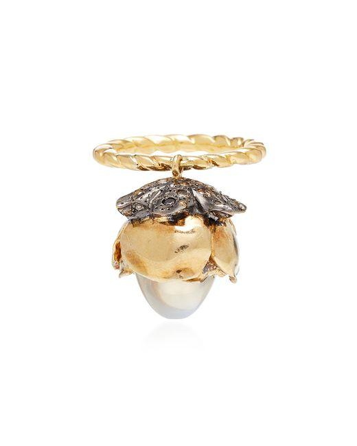 Sylvie Corbelin - Metallic One-of-a-kind Mobile Moonstone Flower Ring - Lyst