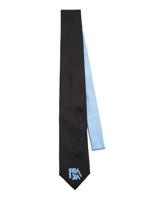 Prada Black Two-tone Silk Logo Tie for men