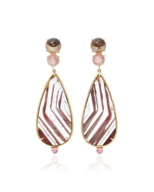 Daria de Koning | Brown Lodolite Pear 18k Yellow Gold Multi-stone Earrings | Lyst
