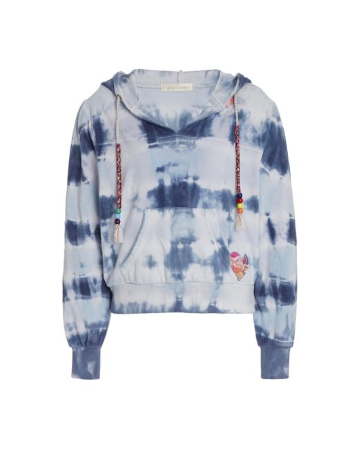 LoveShackFancy Blue Kirby Beaded Tie-dyed Cotton Terry Hoodie