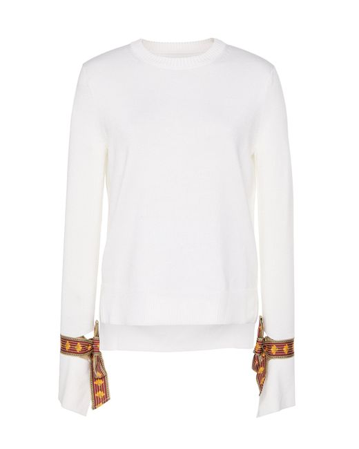 Oscar de la Renta White Tie-detailed Wool And Silk-blend Sweater