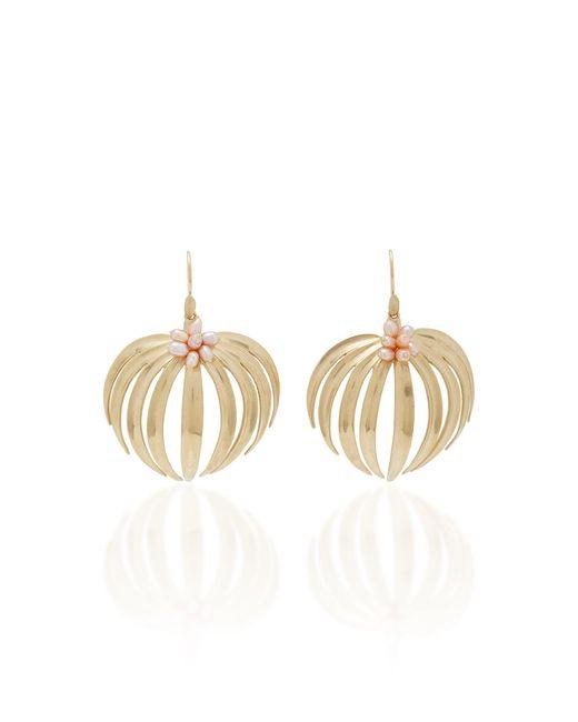 Annette Ferdinandsen - Metallic Palm 14k Gold Pearl Earrings - Lyst