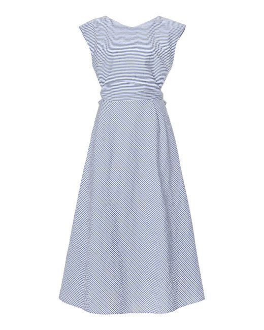 Thierry Colson Blue Olga Striped Cotton Seersucker Midi Dress